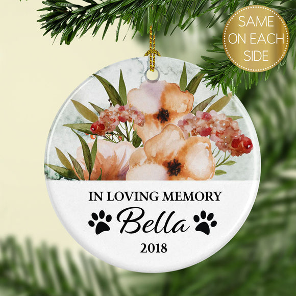Ceramic Personalized Pet Memorial Christmas Ornament - Floral - Kelegant Studios