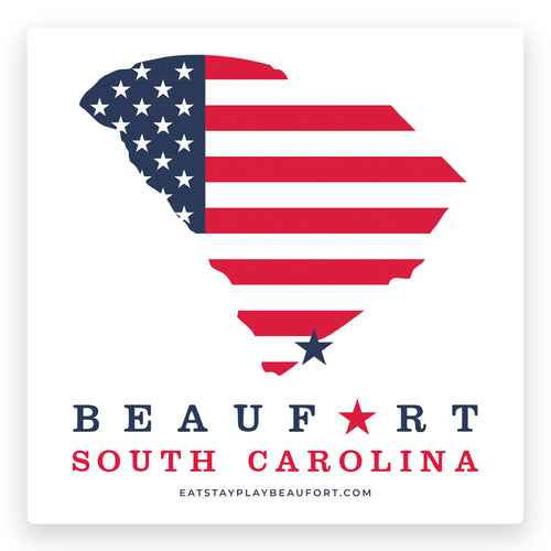 American Flag Beaufort, South Carolina Decal