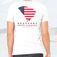 Load image into Gallery viewer, American Flag Beaufort, SC Tee