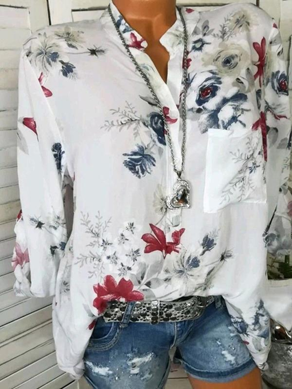 41ee0d79c02 Womens Casual Floral Stand Collar Round Neck Long Sleeve Print Blouses Tops  White blouse Blue Blouse