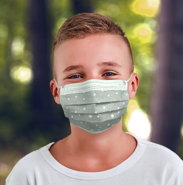25 Pack EZ Breezy Kids Disposable Face Masks - Perfect Size for Children (Gray, 4-12 Years)