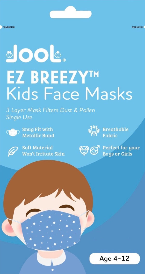 25 Pack EZ Breezy Kids Disposable Face Masks - Perfect Size for Children (Blue, 4-12 Years)