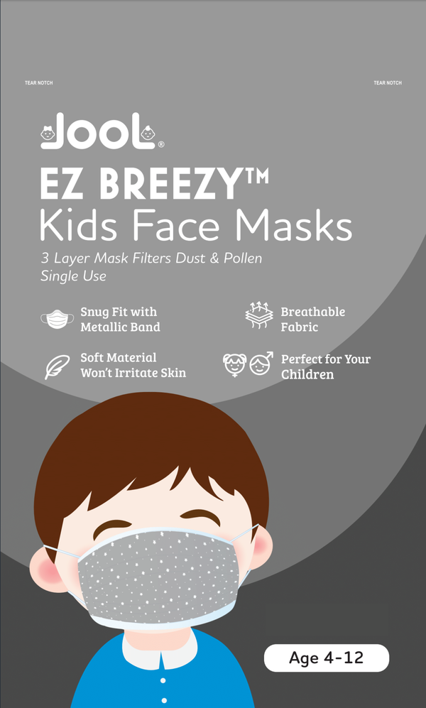 50 Pack EZ Breezy Kids Disposable Face Masks - Perfect Size for Children (Gray, 4-12 Years)