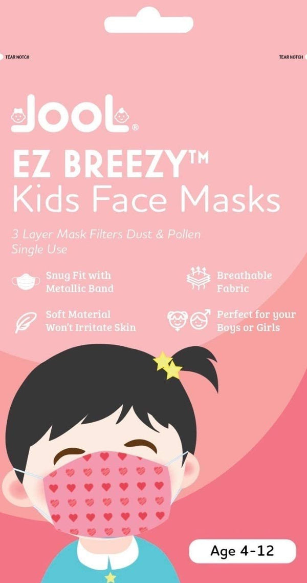 50 Pack EZ Breezy Kids Disposable Face Masks - Perfect Size for Children (Pink, 4-12 Years)
