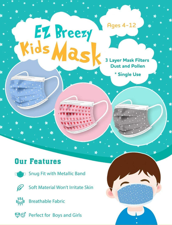 50 Pack EZ Breezy Kids Disposable Face Masks - Perfect Size for Children (Blue, 4-12 Years)