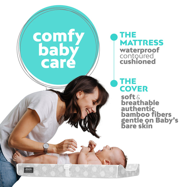Contoured Changing Pad - Waterproof & Non-Slip Design, Includes a Cozy, Breathable, & Washable Bamboo Fiber Matress Cover - by Jool Baby