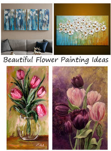 Beautiful Flower Painting Ideas, Acrylic Flower Paintings, Abstract Flower Wall Art Paintings