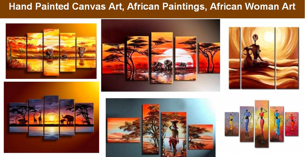African Painting, African Woman Paintings, Acrylic African Abstract Art, African Sunset Paintings
