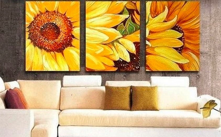 Sunflower Paintings, Wall Art Painting, Flower Wall Art Painting, Acrylic Wall Paintings