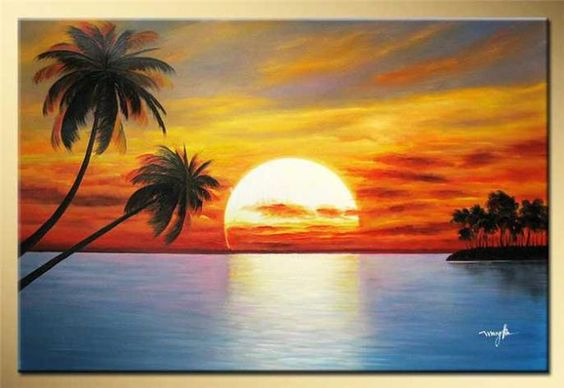 Easy Landscape Paintings Ideas for Beginners, Beach Painting, Seashore Painting Ideas, Sunset Painting, Beautiful Simple Painting Ideas
