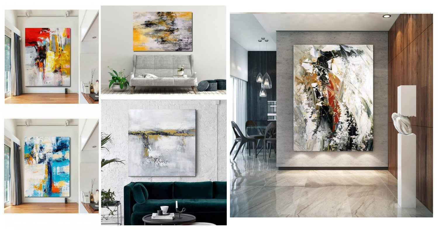 Simple Modern Acrylic Wall Art Paintings for Living Room, Extra Large Original Canvas Paintings, Hand Painted Art on Canvas