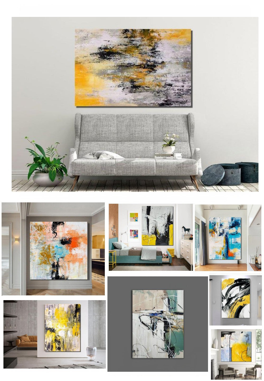 Easy Abstract Painting on Canvas, Original Hand Painted Abstract Paintings, Simple Acrylic Painting for Bedroom