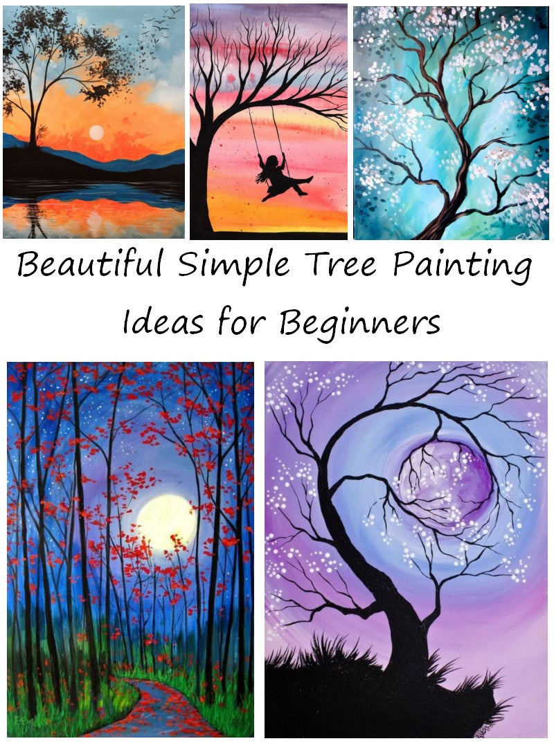 Easy Tree Painting Ideas for Beginners Acrylic Tree Painting, Tree Landscape Painting, Abstract Tree Paintings, Black Tree Painting, White Tree Painting