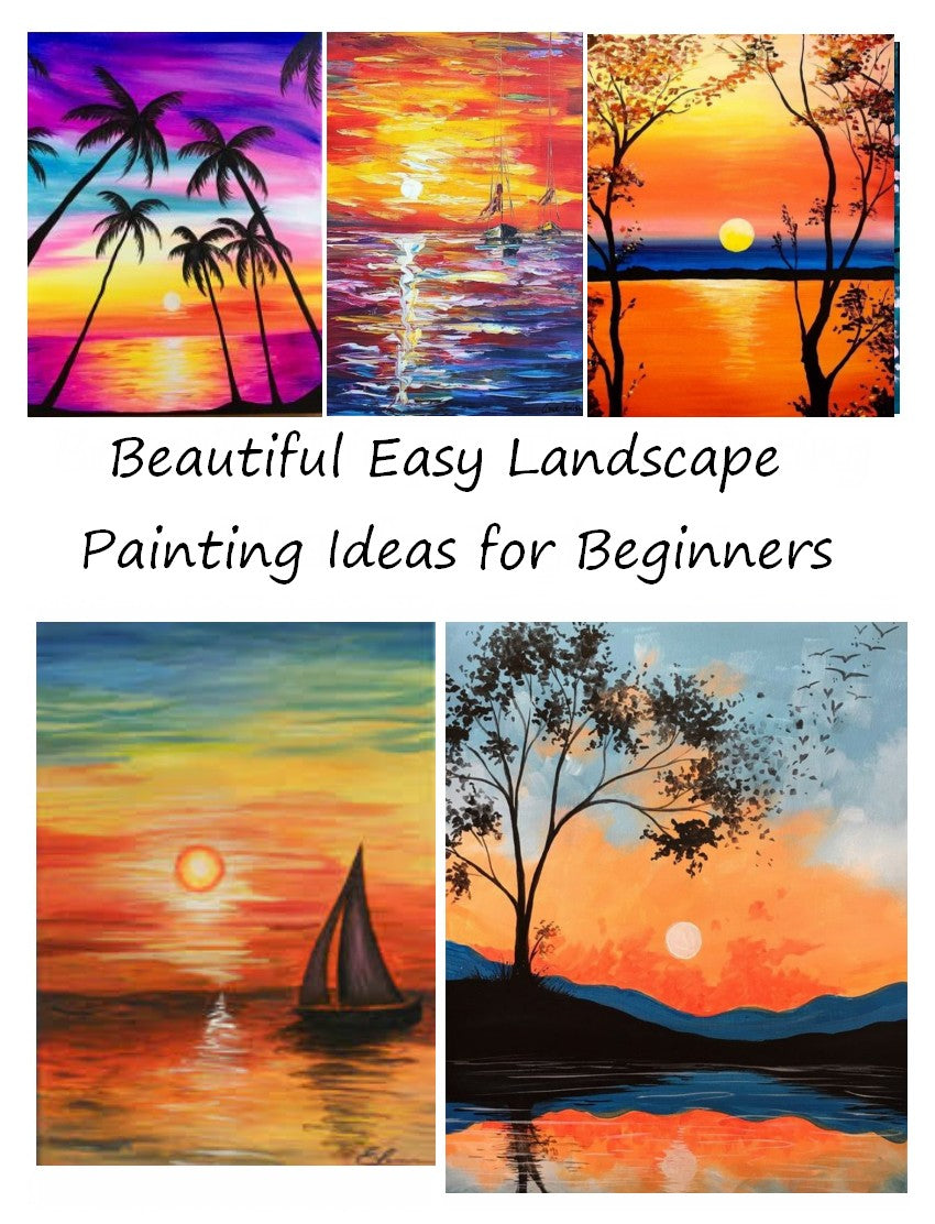 Beautiful Easy Landscape Painting Ideas for Beginners   Sunrise ...