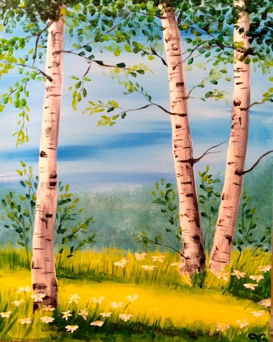 Birch Tree Painting, Tree Paintings, Tree Landscape Painting, Tree Painting Ideas, Acrylic Landscape Wall Art Painting