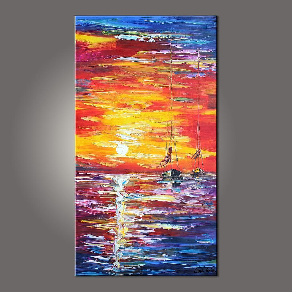 Acrylic Texture Painting, Sunrise Painting, Landscape Texture Paintings, Sail Boat Painting, Seascape Painting