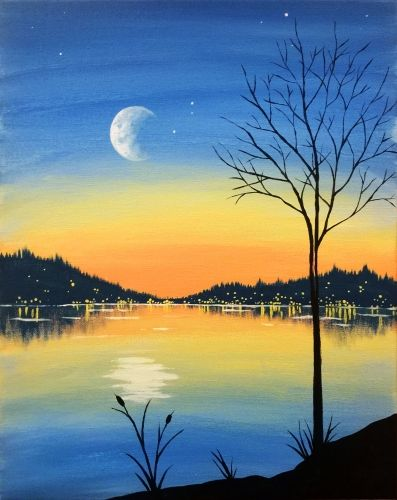 Easy Landscape Paintings Ideas for Beginners, Moon Painting, Acrylic Landscape Painting, Simple Painting