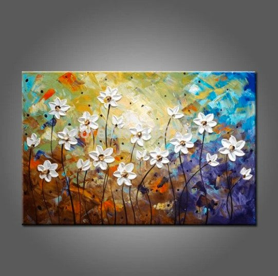 Flower Texture Paintings, Daisy Flower Painting, Acrylic Texture Painting, Simple Flower Paintings, Palette Knife Paintings