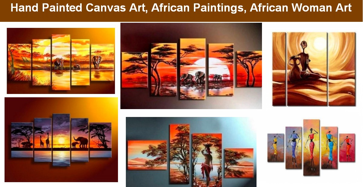African Woman Paintings, African Landscape Paintings, African Painting, Sunrise Painting, Acrylic African Painting