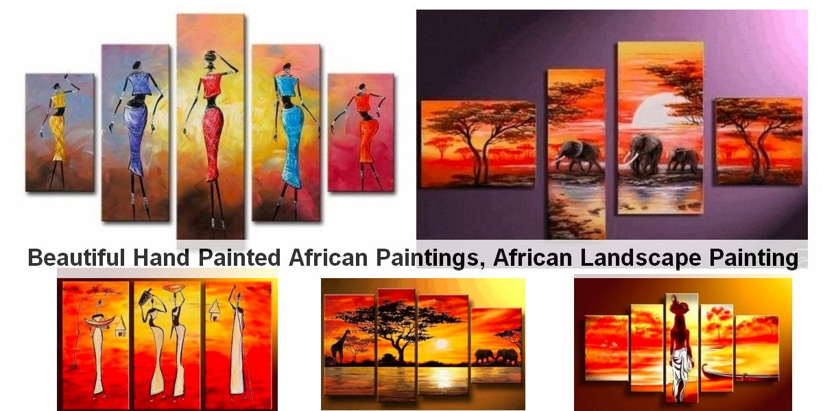 Acrylic African Painting, Sunset Painting, Paintings for Living Room, African Woman Painting, Acrylic Paintings for Bedroom