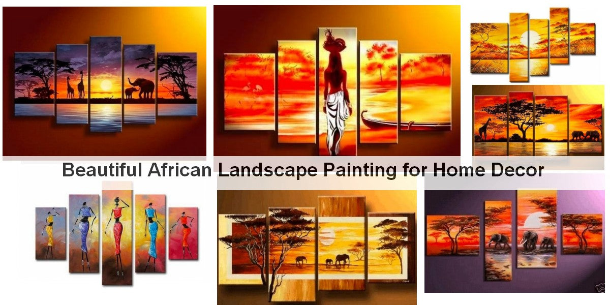 African Woman Painting, African Painting, Landscape Paintings, Hand Painted Acrylic Paintings, Living Room Wall Painting