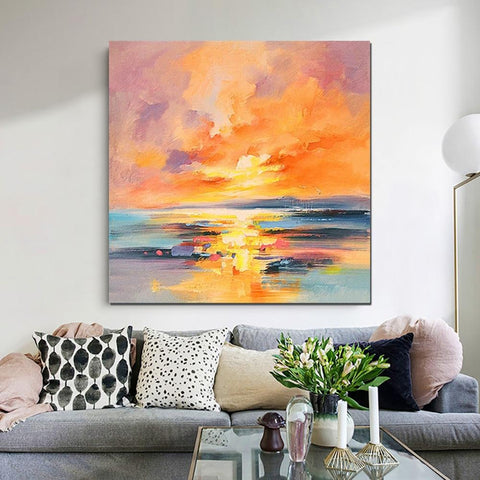 Abstract Landscape Painting, Sunrise Painting, Large Landscape Painting for Living Room, Hand Painted Art-ArtWorkCrafts.com