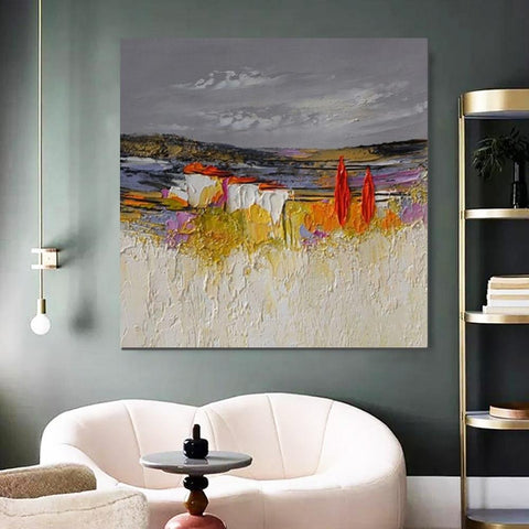 Abstract Landscape Painting, Large Landscape Painting for Bedroom, Heavy Texture Painting, Palette Knife Artwork-ArtWorkCrafts.com