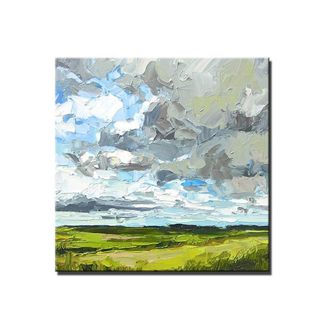 Abstract Landscape Painting, Grass Land under Sky Painting, Large Acrylic Paintings for Bedroom, Heavy Texture Canvas Art-ArtWorkCrafts.com