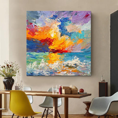 Abstract Landscape Painting, Seascape Sunrise Painting, Large Landscape Painting for Sale, Heavy Texture Art Painting-ArtWorkCrafts.com