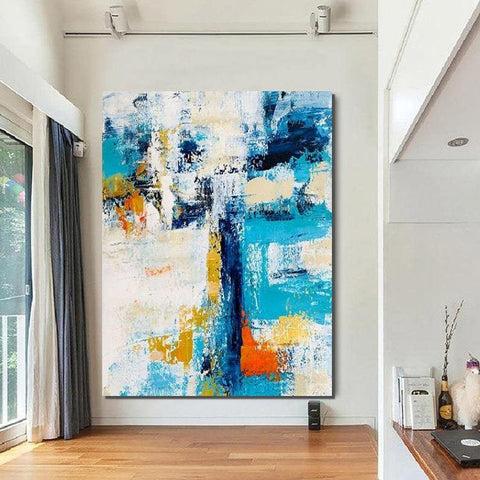 Abstract Canvas Painting, Modern Paintings for Dining Room, Hand Painted Wall Painting, Extra Large Abstract Artwork-ArtWorkCrafts.com