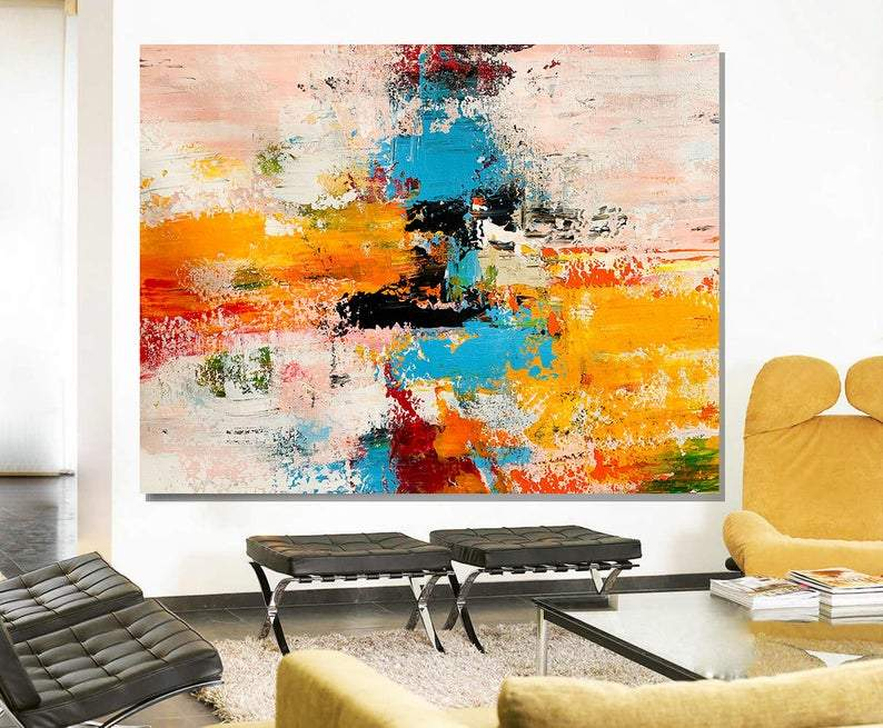 Acrylic Abstract Art, Extra Large Paintings, Modern Abstract Acrylic Painting, Living Room Wall Painting-ArtWorkCrafts.com