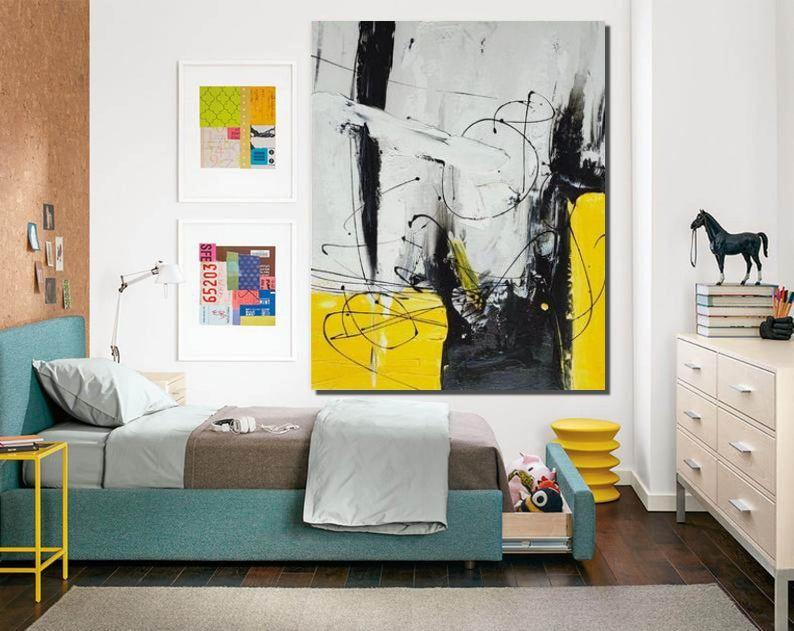 Large Modern Canvas Painting, Contemporary Modern Artwork, Wall Art for Bedroom, Hand Painted Wall Art Painting-ArtWorkCrafts.com