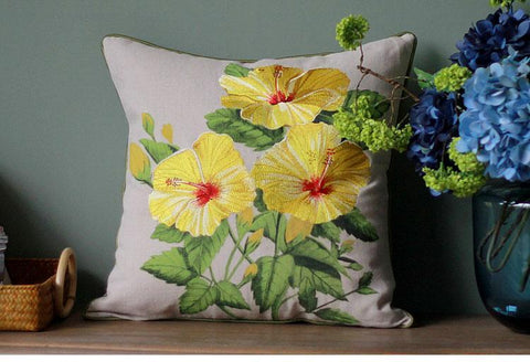 Beautiful Embroider Morning Glory Flower Cotton and linen Pillow Cover, Decorative Throw Pillow, Sofa Pillows-ArtWorkCrafts.com