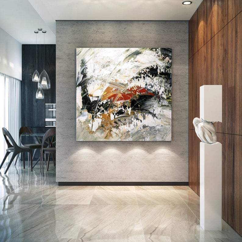 Huge Wall Paintings, Extra Large Paintings for Dining Room, Abstract Acrylic Wall Painting, Modern Canvas Painting-ArtWorkCrafts.com