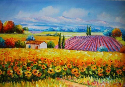 Canvas Painting, Landscape Painting, Sunflower Field, Wall Art, Large Painting, Living Room Wall Art, Cypress Tree, Oil Painting, Canvas Art, Autumn Painting-ArtWorkCrafts.com