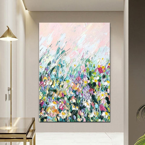 Abstract Flower Painting, Heavy Texture Painting, Large Wall Art Ideas for Dining Room, Abstract Landscape Painting-ArtWorkCrafts.com