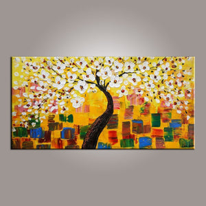 Painting on Sale, Flower Tree Painting, Abstract Art Painting, Canvas Wall Art, Dining Room Wall Art, Canvas Art, Modern Art, Contemporary Art-ArtWorkCrafts.com