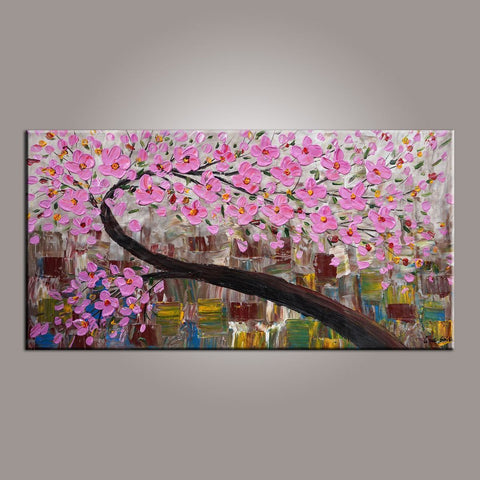 Flower Painting, Tree Painting, Abstract Art Painting, Acrylic Painting on Canvas, Texture Artwork, Modern Art, Hand Painted Art-ArtWorkCrafts.com