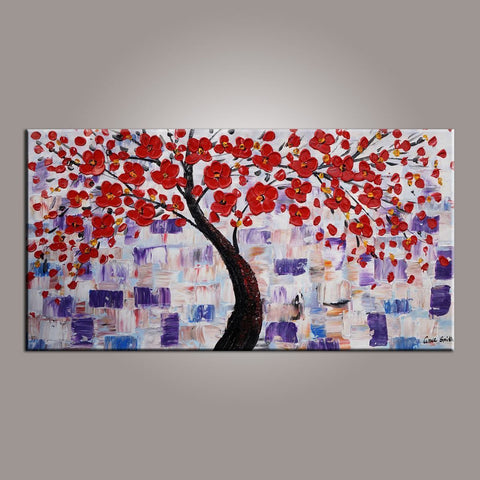 Red Flower Painting, Tree Painting, Abstract Painting, Painting on Sale, Dining Room Wall Art, Art on Canvas, Texture Painting-ArtWorkCrafts.com