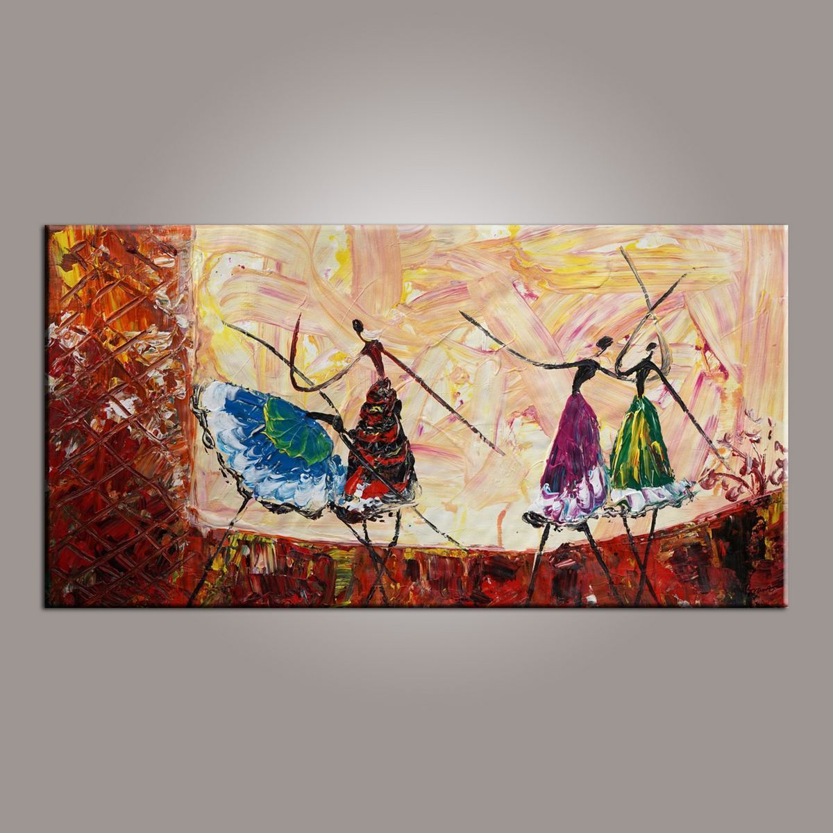 Abstract Painting, Ballet Dancer Art, Canvas Painting, Abstract Art, Hand Painted Art, Bedroom Wall Art-ArtWorkCrafts.com