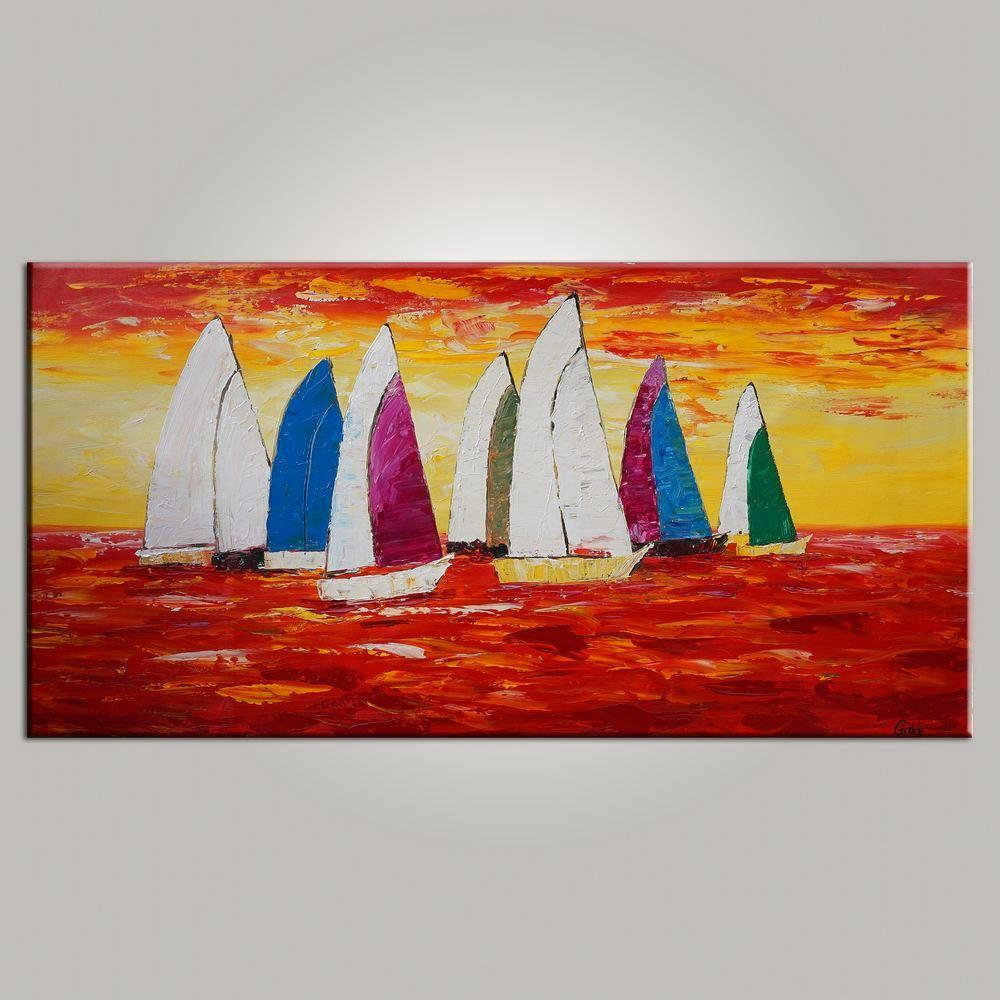 Abstract Art, Painting for Sale, Contemporary Art, Sail Boat Painting, Canvas Art, Living Room Wall Art, Modern Art-ArtWorkCrafts.com