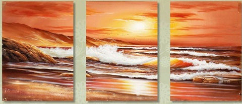 Seascape Painting, Big Wave, Sunrise Painting, Canvas Painting, Wall Art, Landscape Painting, Modern Art, 3 Piece Wall Art, Art Painting, Wall Hanging-ArtWorkCrafts.com