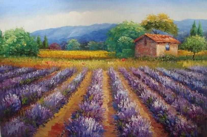 Lavender Field, Canvas Painting, Landscape Painting, Wall Art, Large Painting, Living Room Wall Art, Oil Painting, Canvas Art, Autumn Painting-ArtWorkCrafts.com
