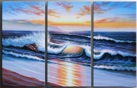 Paciffic Ocean Big Wave, Seascape Art, Canvas Painting, Landscape Painting, Large Painting, Living Room Wall Art, Oil on Canvas, 3 Piece Oil Painting, Large Wall Art-ArtWorkCrafts.com