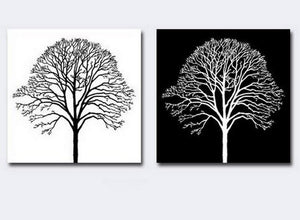 Canvas Painting, Black and White Art, Abstract Painting on Canvas, Wall Hanging, Tree of Life, Simple Painting-ArtWorkCrafts.com
