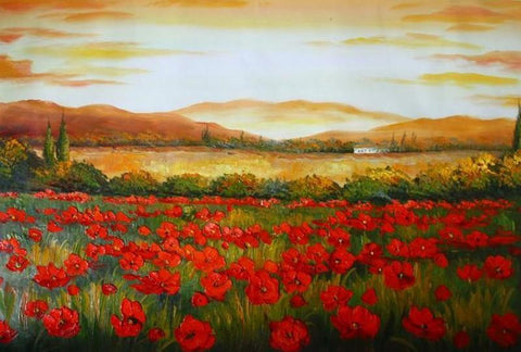Canvas Art, Red Poppy Field, Large Art, Flower Field, Wall Art, Landscape Painting, Bedroom Wall Art, Large Art, Oil Painting, Large Wall Art-ArtWorkCrafts.com