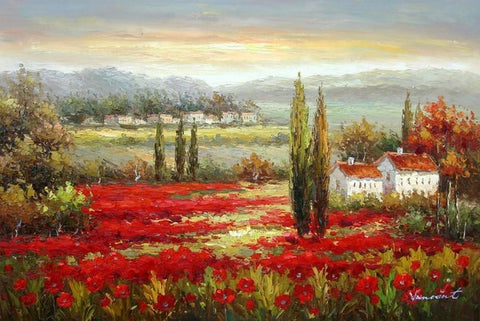 Flower Field, Wall Art, Large Painting, Canvas Oil Painting, Landscape Painting, Living Room Wall Art, Cypress Tree, Canvas Wall Art, Canvas Art, Red Poppy Field-ArtWorkCrafts.com
