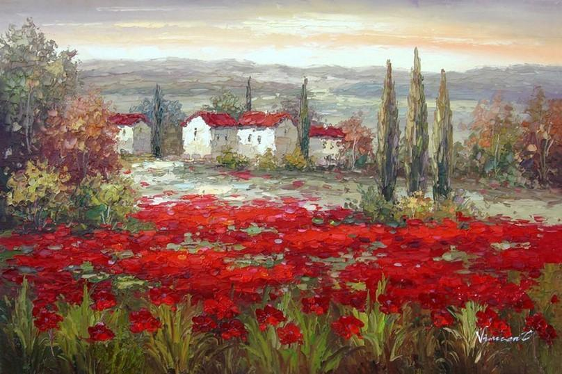 Red Poppy Field, Canvas Art, Large Art, Flower Field, Wall Art, Landscape Painting, Living Room Wall Art, Large Wall Art, Large Oil Painting, Canvas Wall Art-ArtWorkCrafts.com