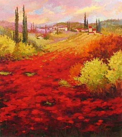 Flower Field, Wall Art, Large Painting, Canvas Painting, Landscape Painting, Living Room Wall Art, Cypress Tree, Oil Painting, Canvas Art, Red Poppy Field-ArtWorkCrafts.com