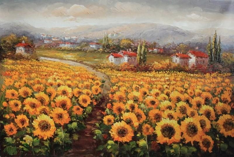 Canvas Painting, Landscape Painting, Sunflower Field, Wall Art, Large Painting, Living Room Wall Art, Oil Painting, Canvas Art, Landscape Art-ArtWorkCrafts.com